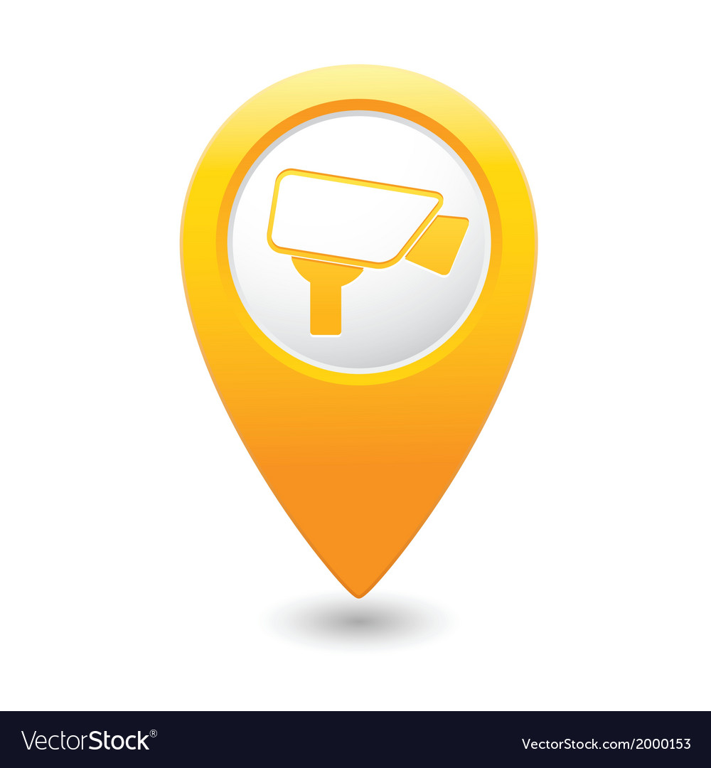 Camera icon yellow map pointer vector