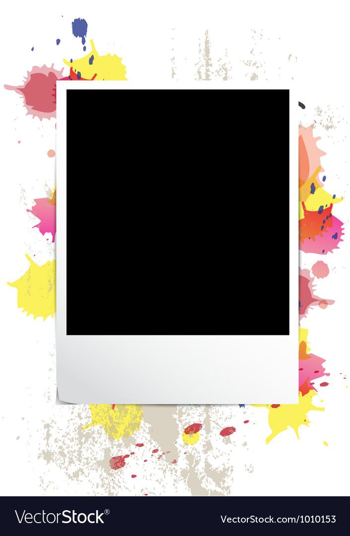 Picture frame on splatter background vector