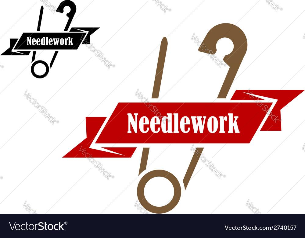 Safety pin sewing symbol vector