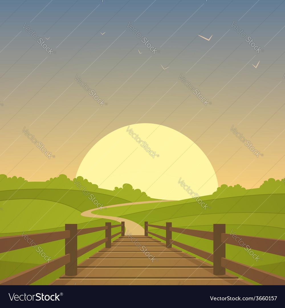 The wooden bridge vector