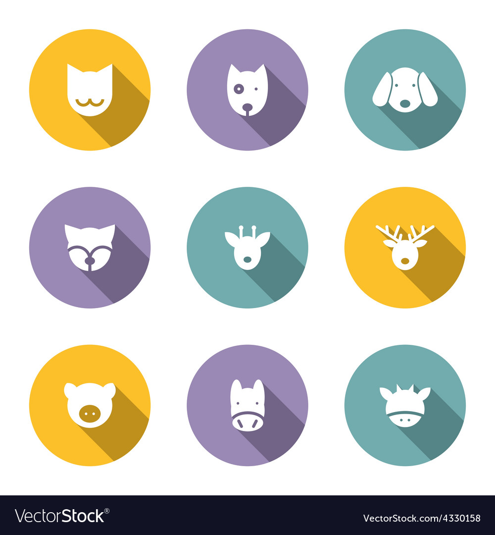 Set of animal portrait icons with long shadow vector