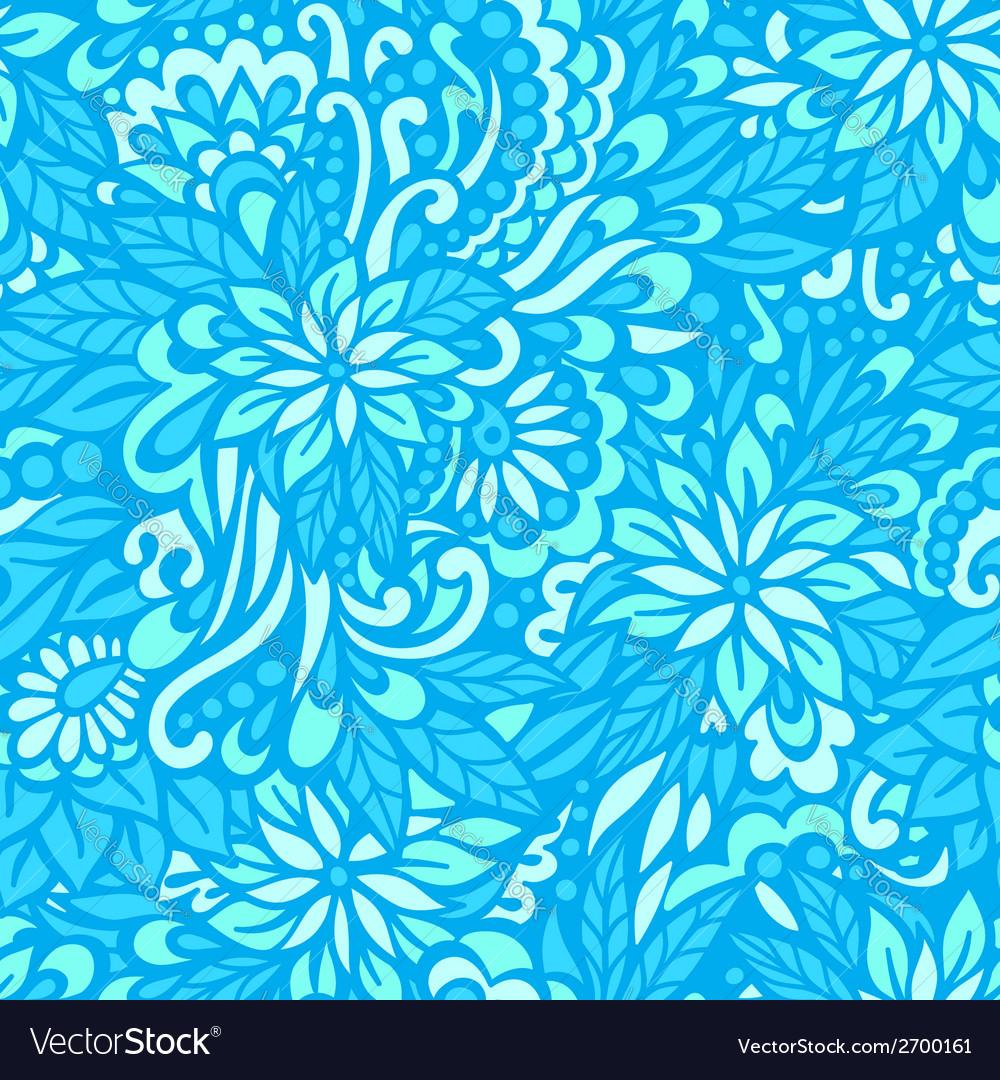 Sea flowers seamless decorative pattern vector
