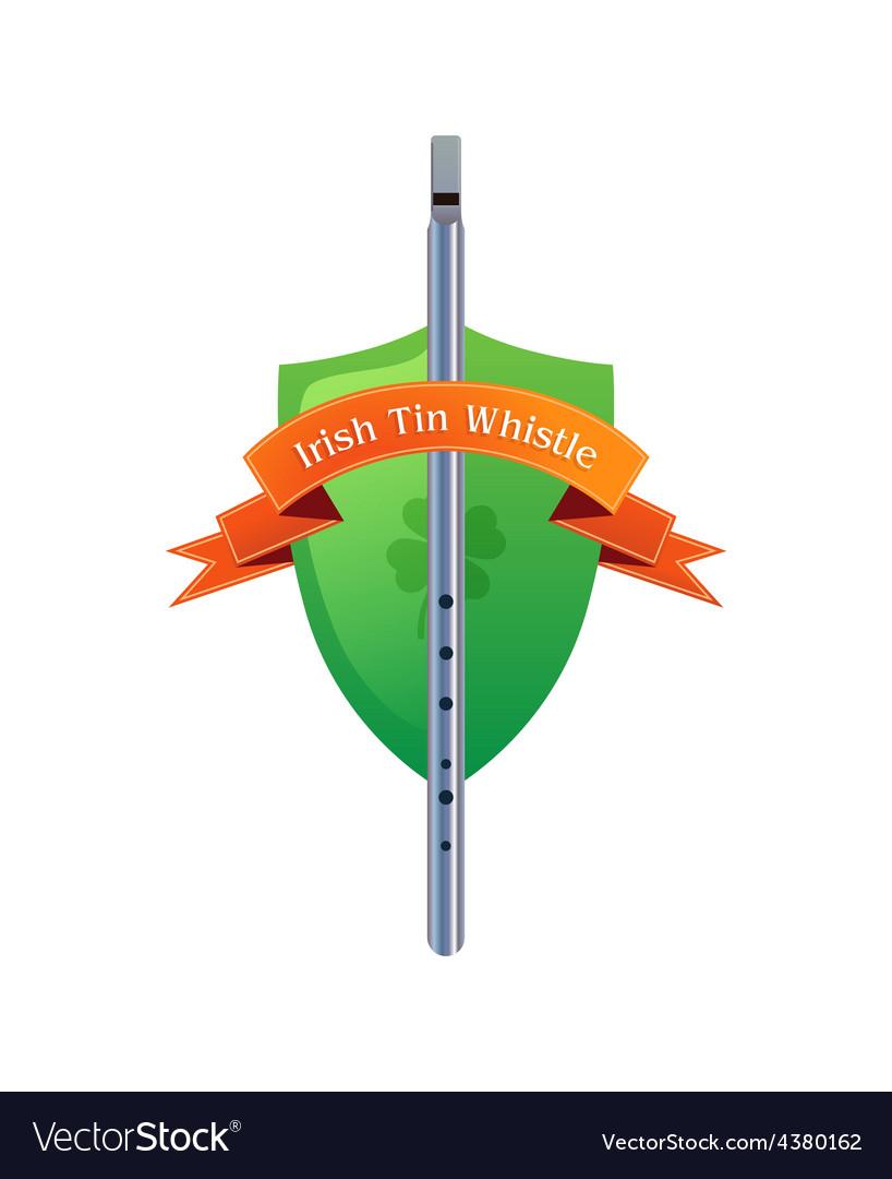 Irish tin whistle on shield vector
