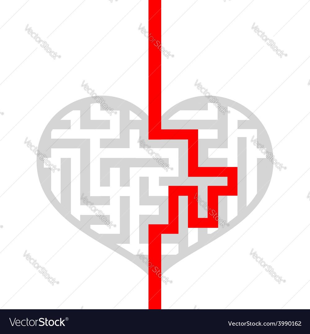 Maze as human heart vector