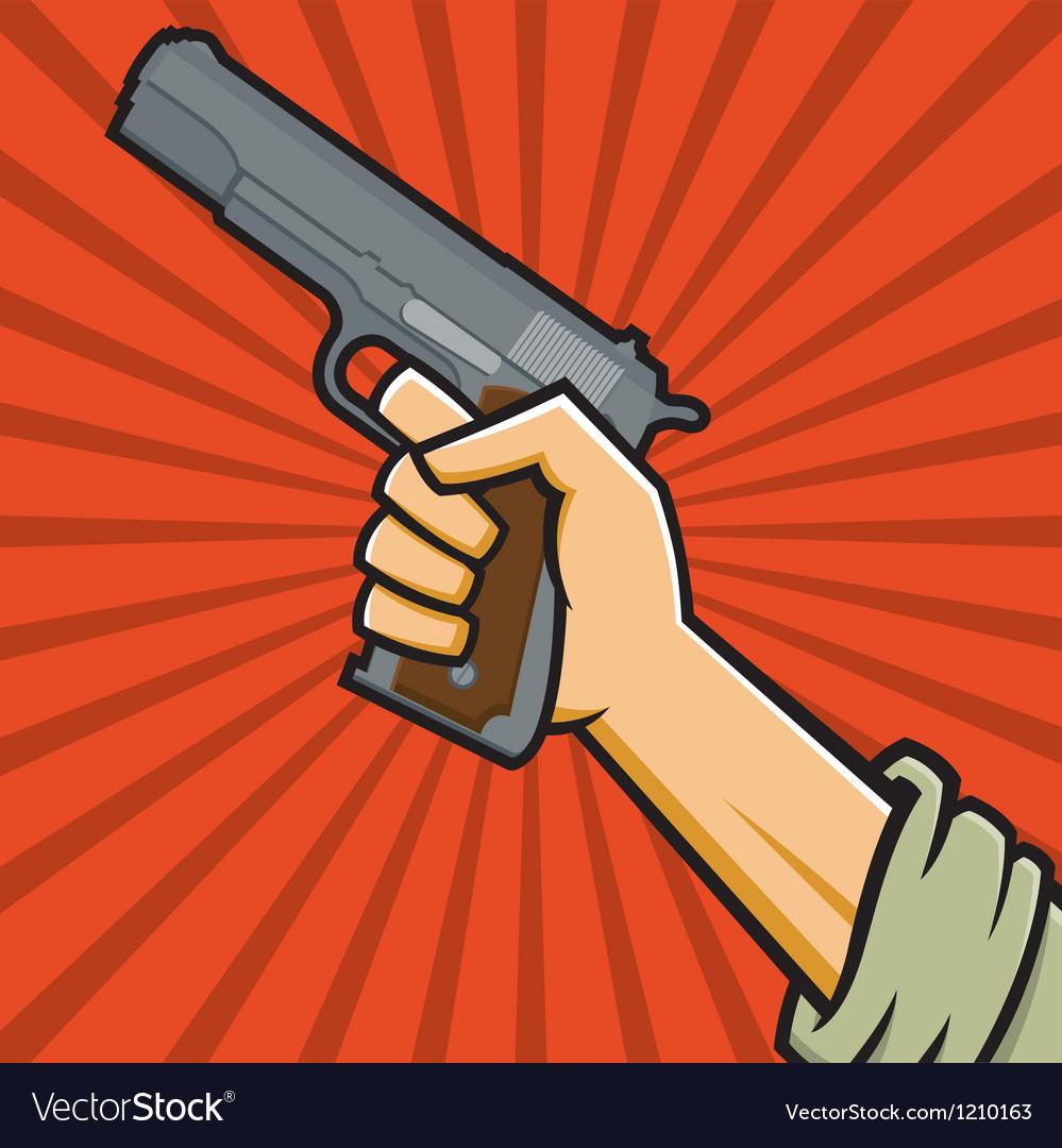 Fist holding 1911-style pistol vector
