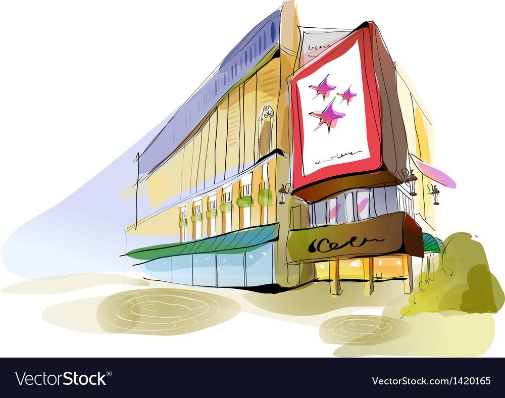 Shopping mall sketch vector