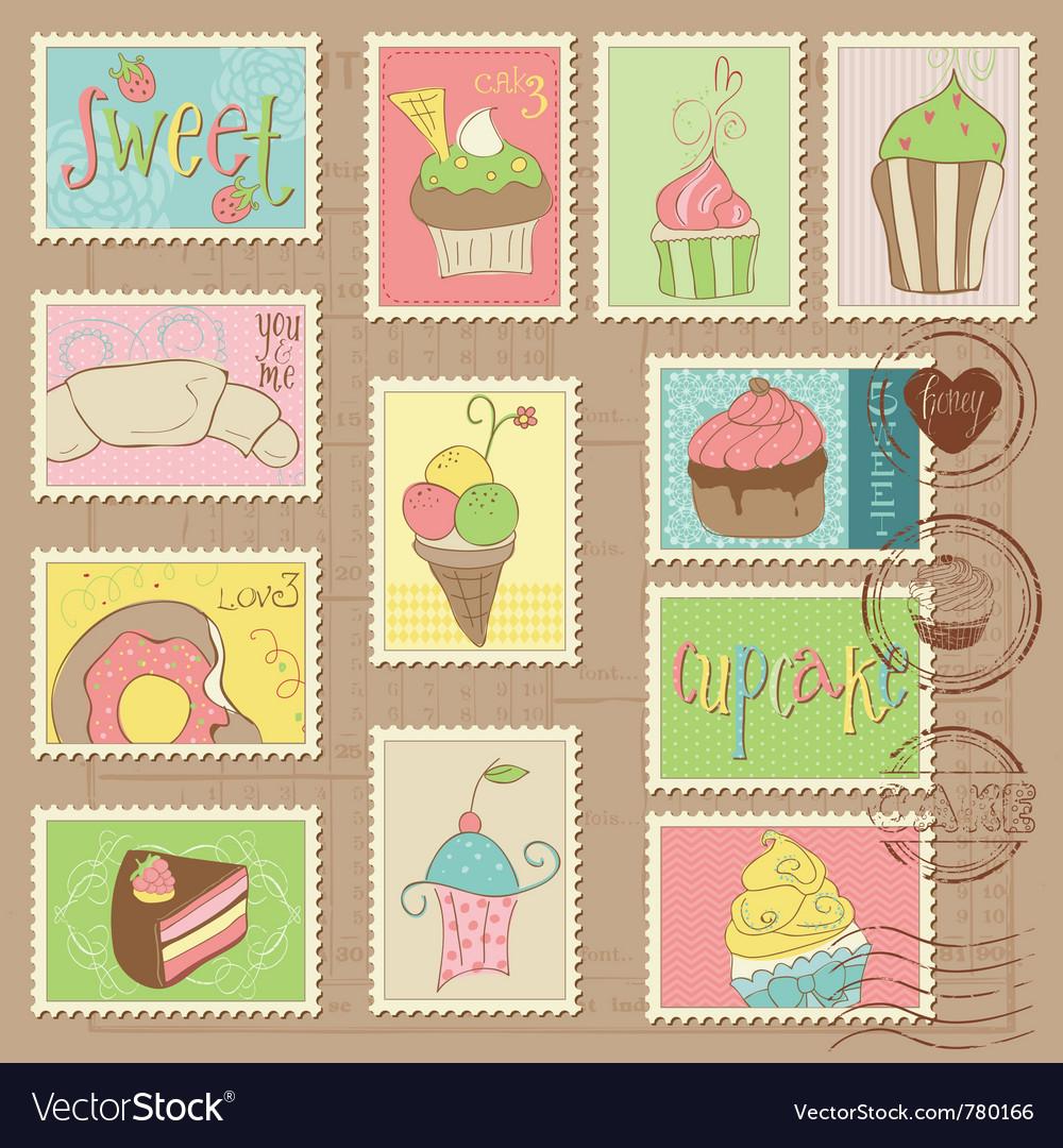 Desserts postage stamps vector