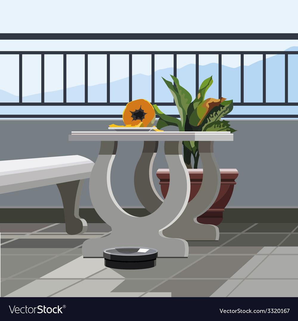Interior balcony table with fruit papaya and vector