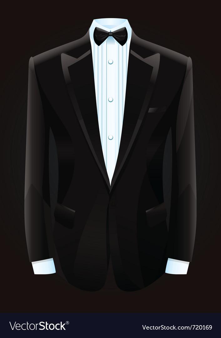 Black tuxedo and bow tie vector