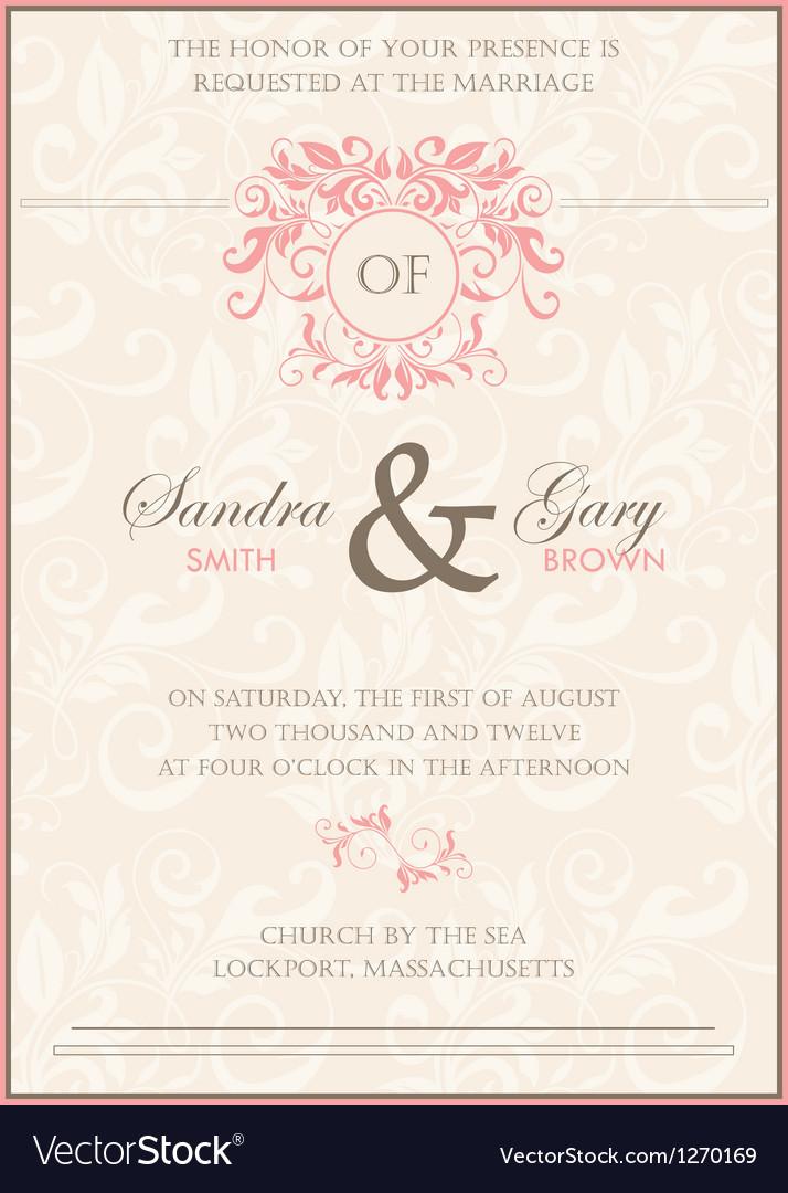 Invitation wedding card vector