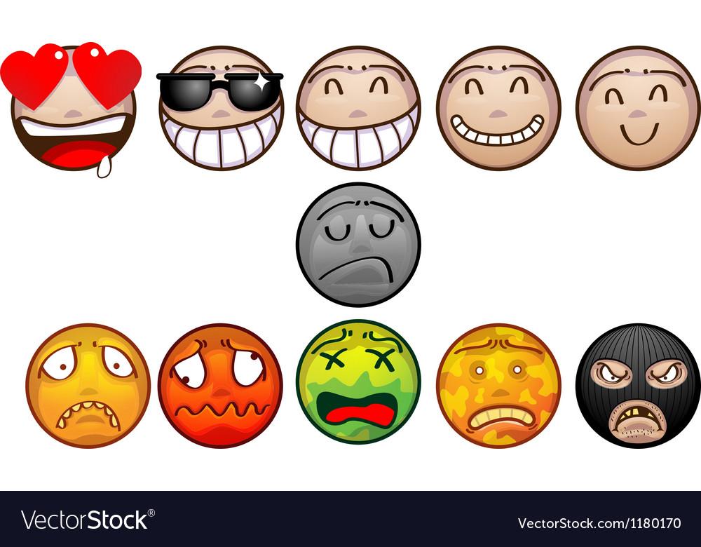 Face emoticon set vector