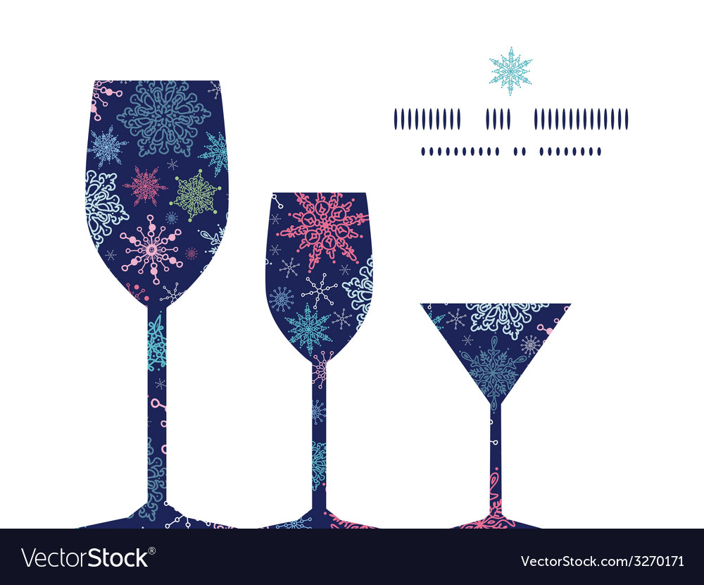 Snowflakes on night sky three wine glasses vector
