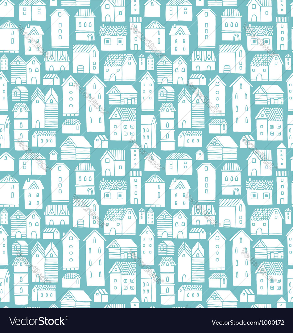 Houses seamless pattern vector