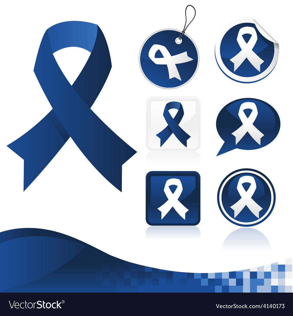 Dark blue awareness ribbons kit vector