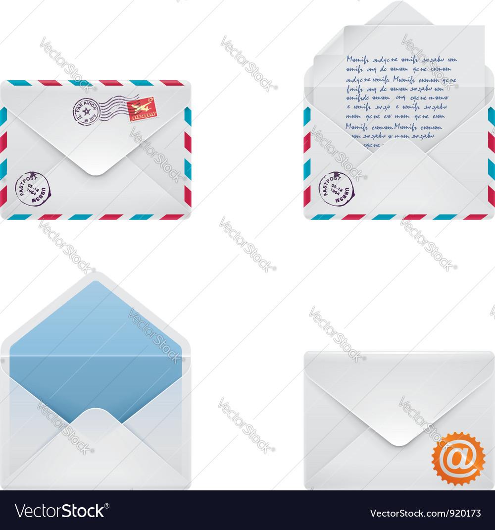 Envelope icon set vector