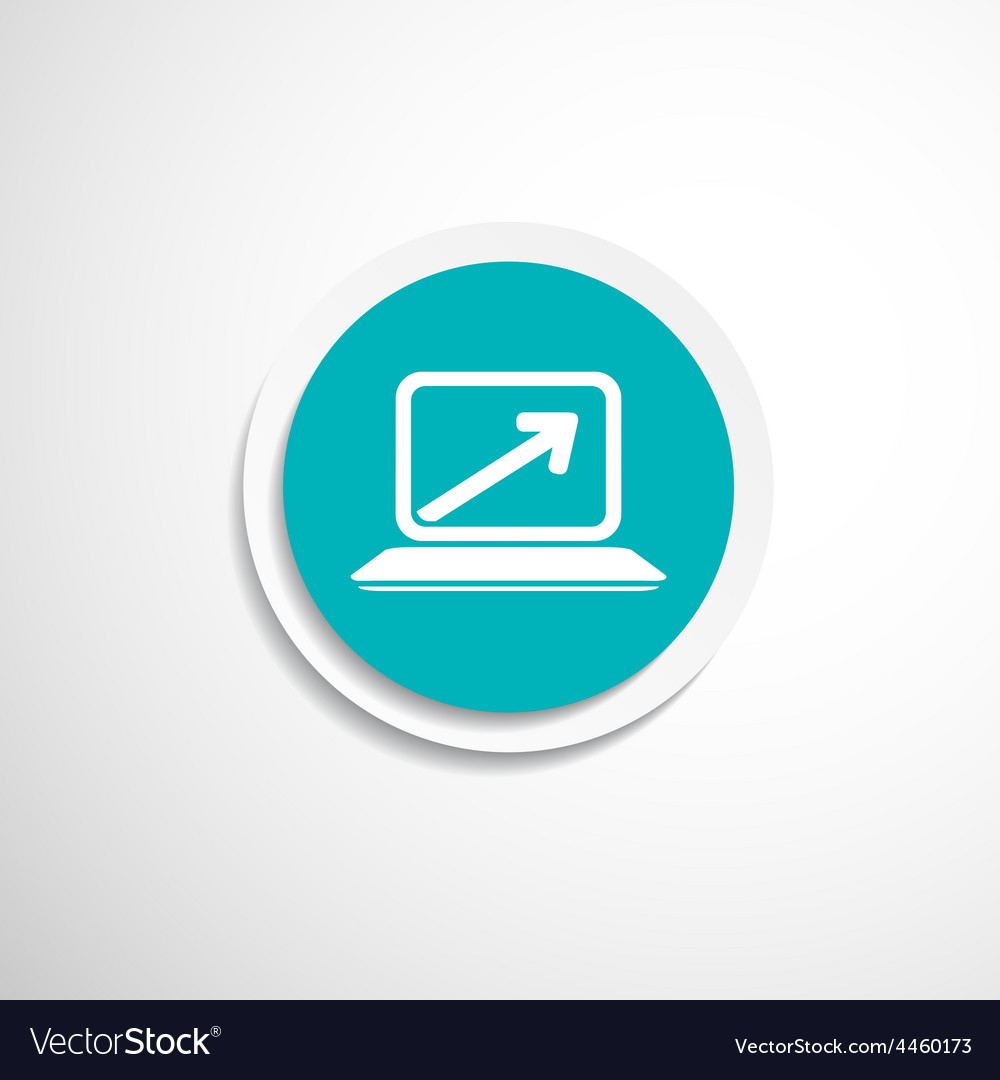 Laptop arrow pointing up from the blank screen vector