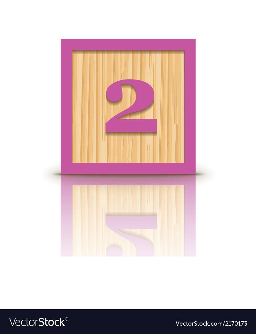 Number 2 wooden alphabet block vector