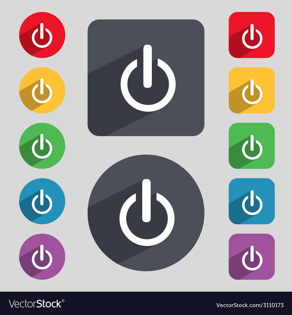 Power sign icon switch symbol turn on energy set vector