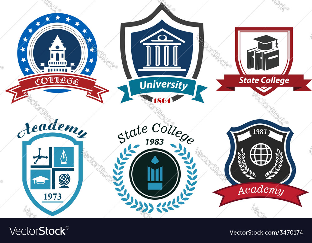 University college and academy heraldic emblems vector