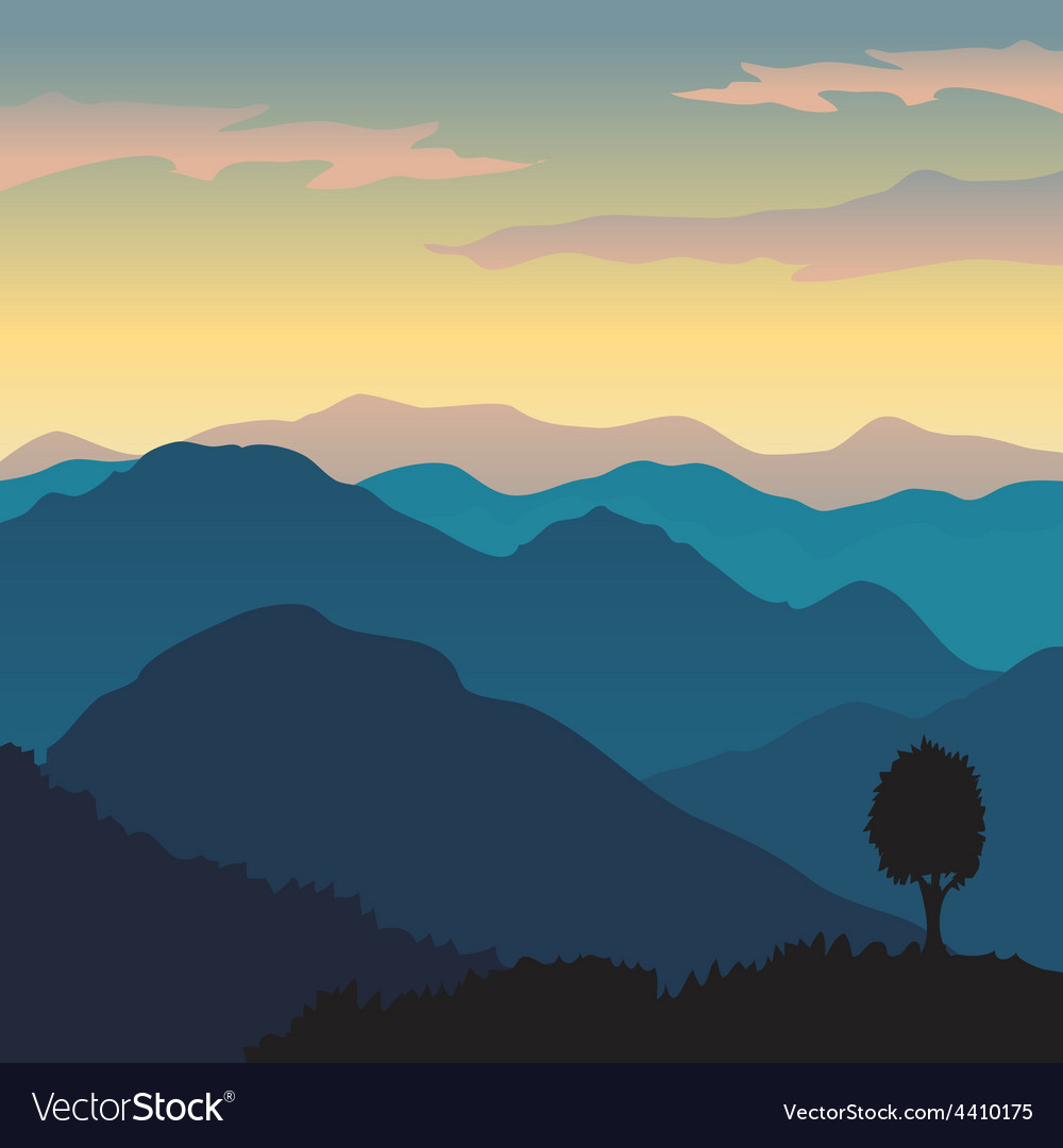 Hill view vector