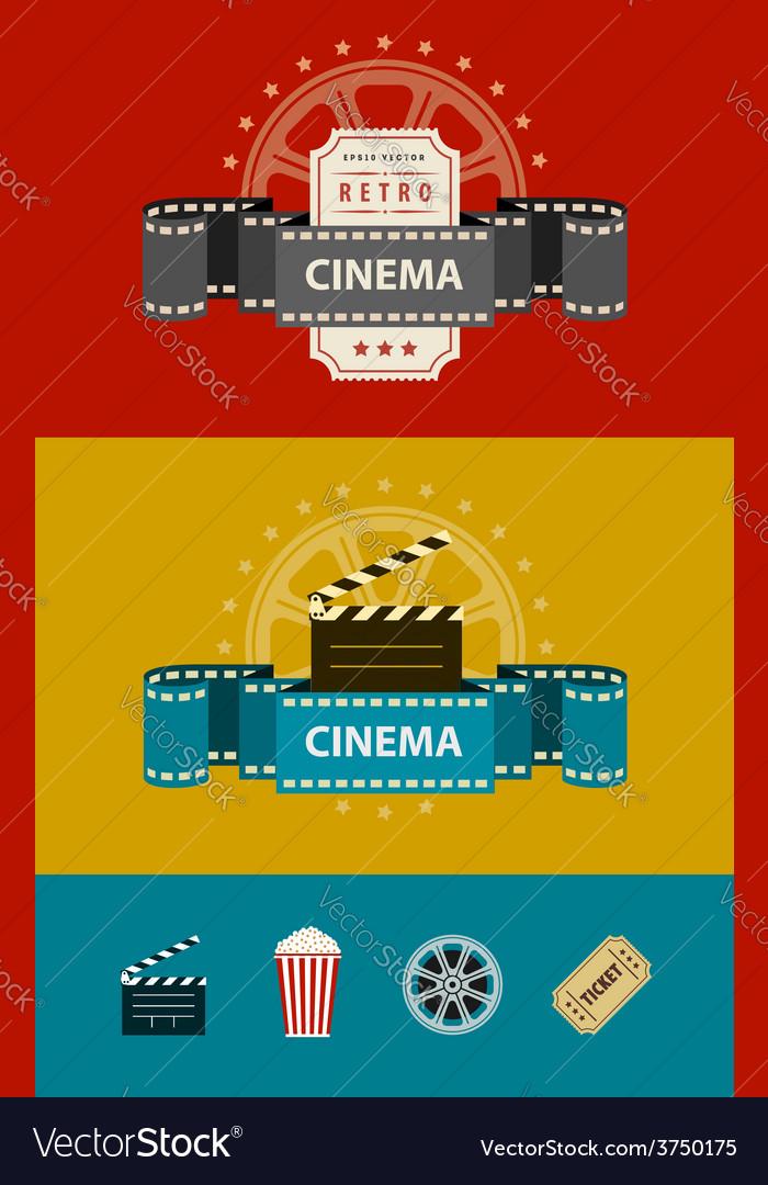 Retro cinematography banners vector