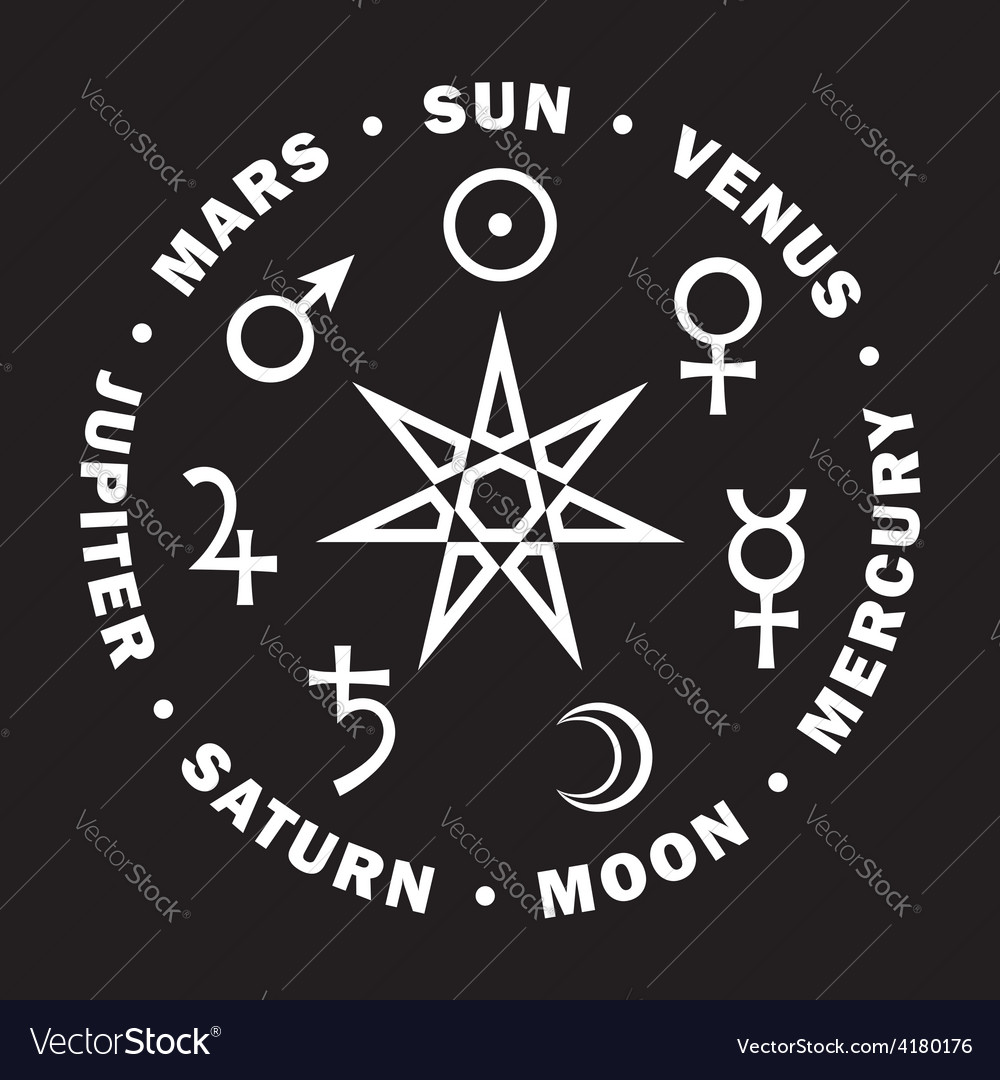 Star of magicians seven planets of astrology vector