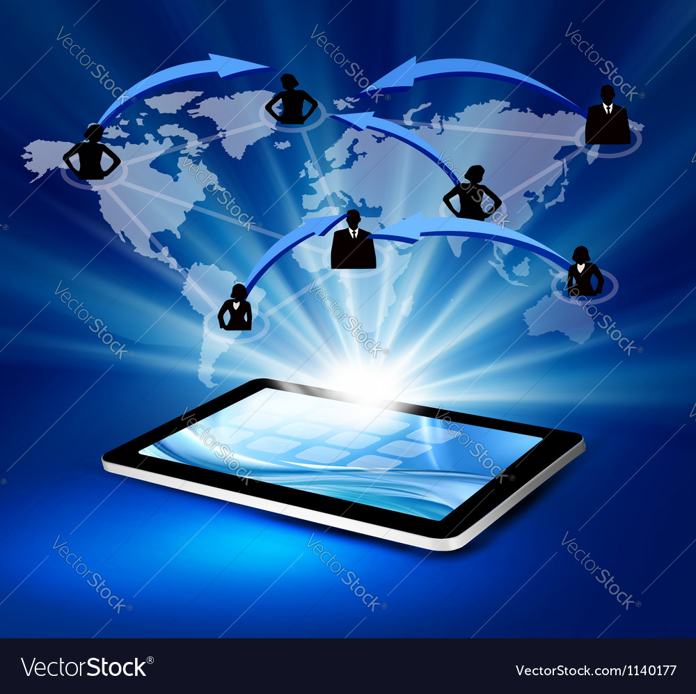 Modern communication technology with tablet vector