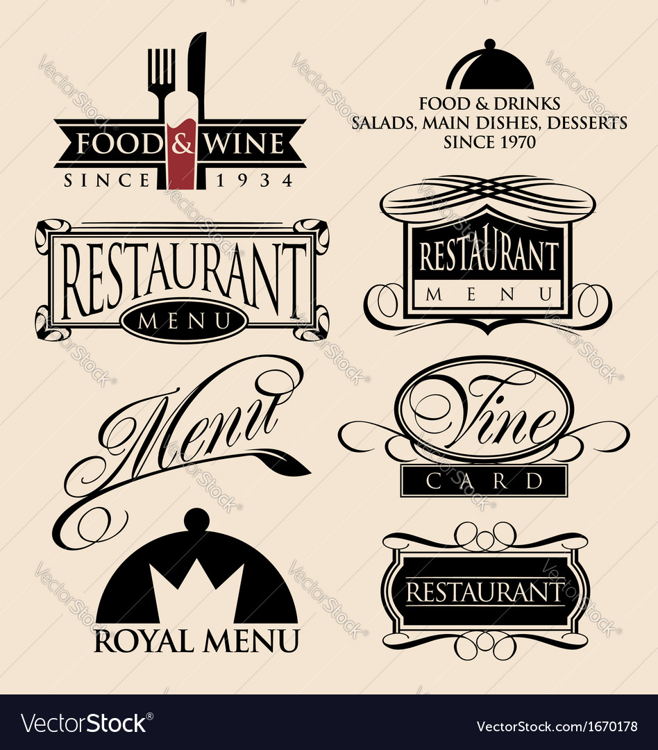 Restaurant signs symbols and logos vector