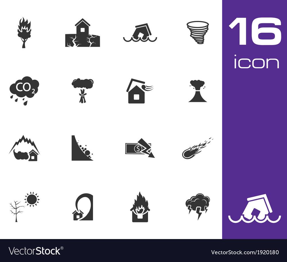 Black disaster icons set on white background vector