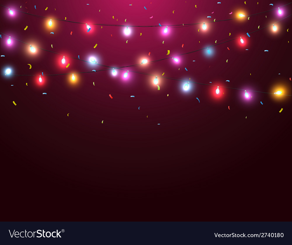 Colorful lights with confetti vector