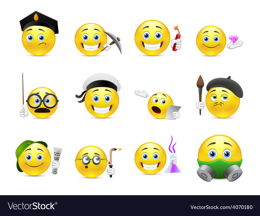 Occupation smilies vector