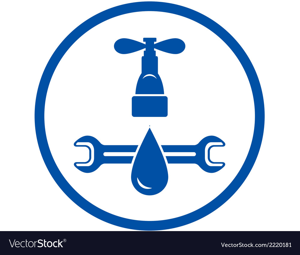 Round icon of plumbing service vector