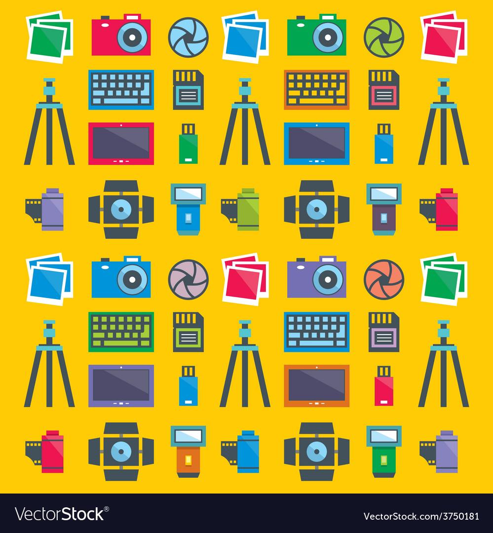 Seamless pattern photographer vector