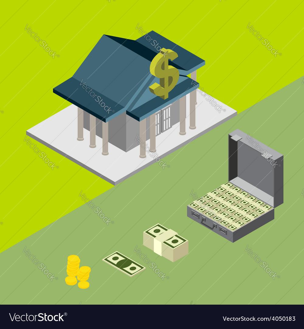 Bank isometric icons vector
