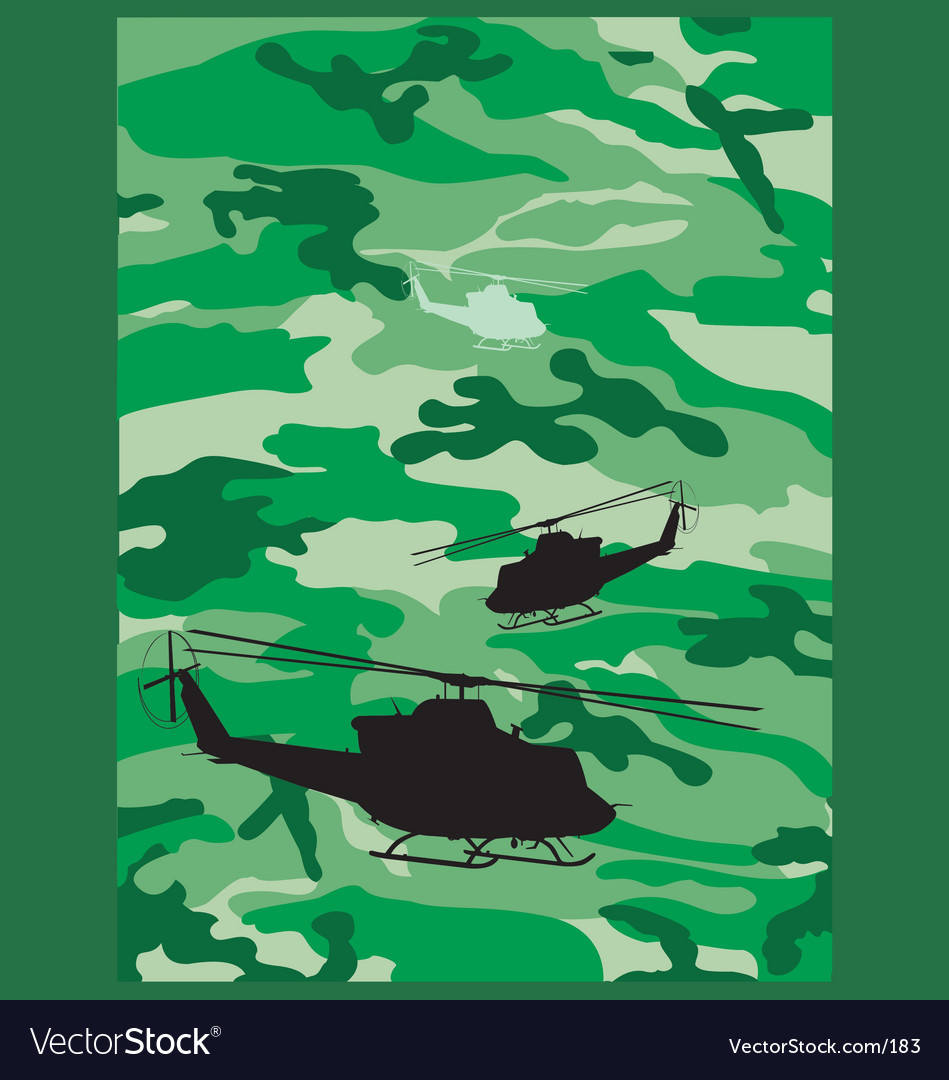 Camouflage helicopter vector