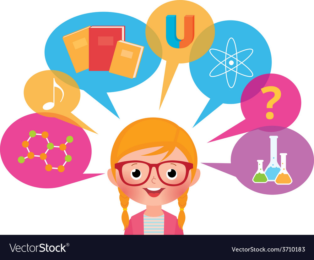 Girl studying different sciences vector