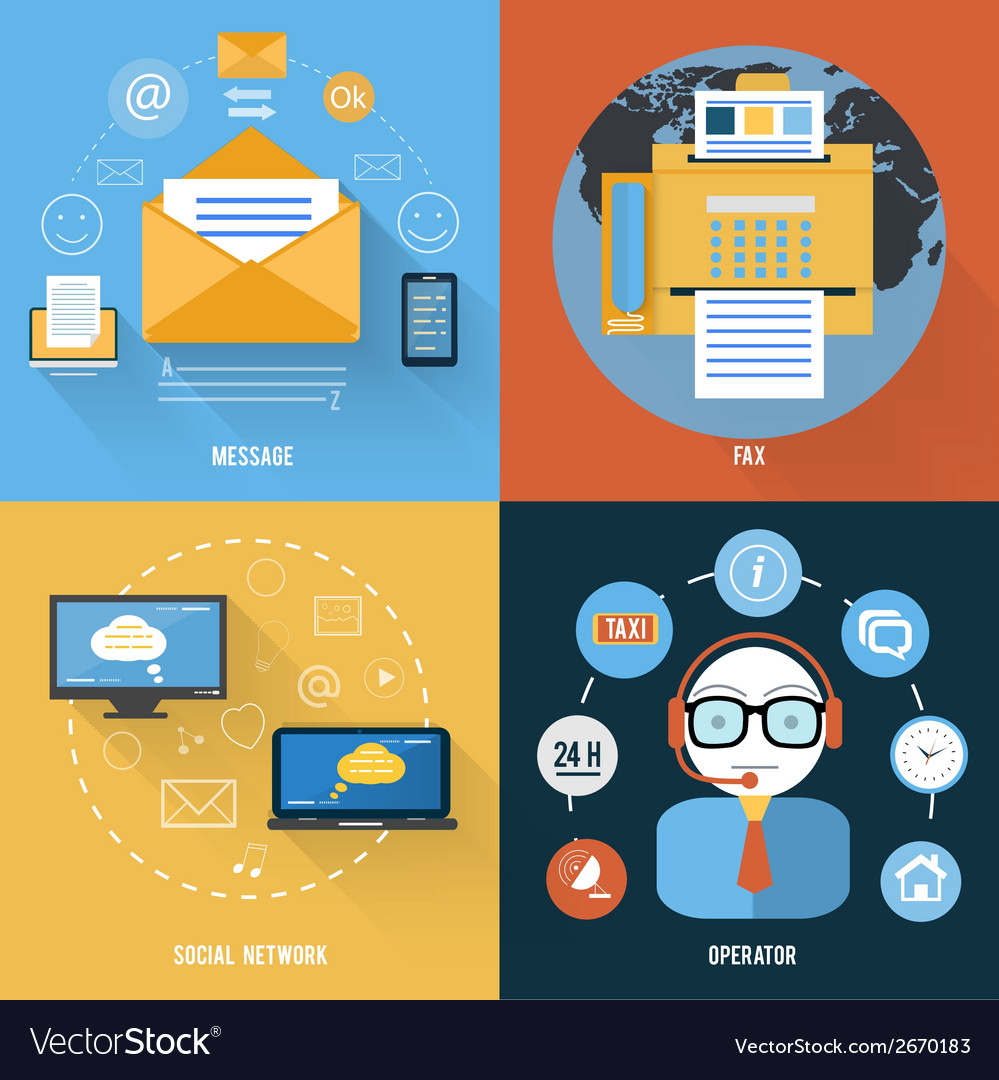 Message fax social network and support icons vector