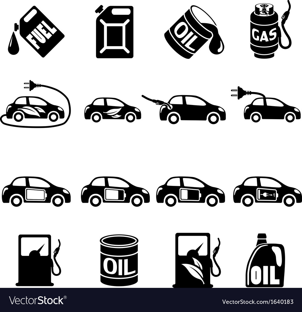 Set of different fuel icons vector