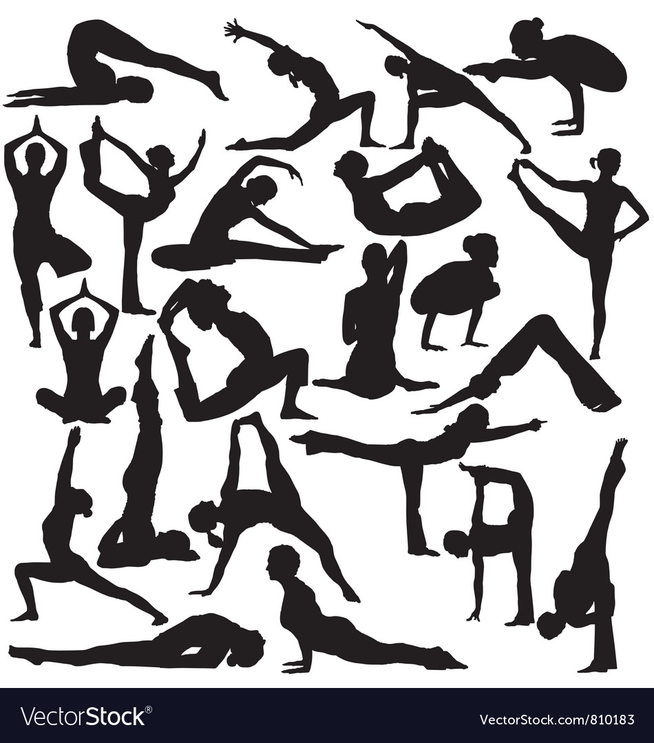 Yoga silhouettes vector