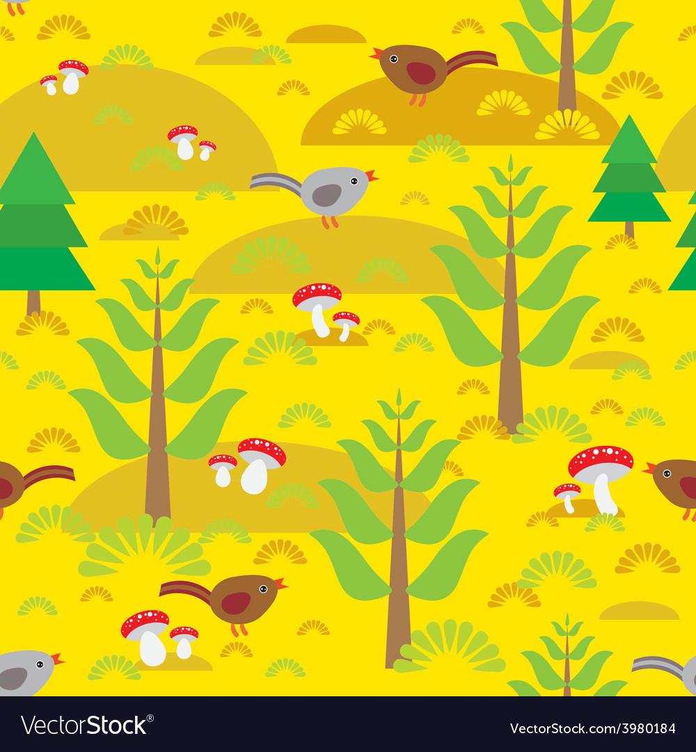 Seamless background with orange autumn mushrooms vector