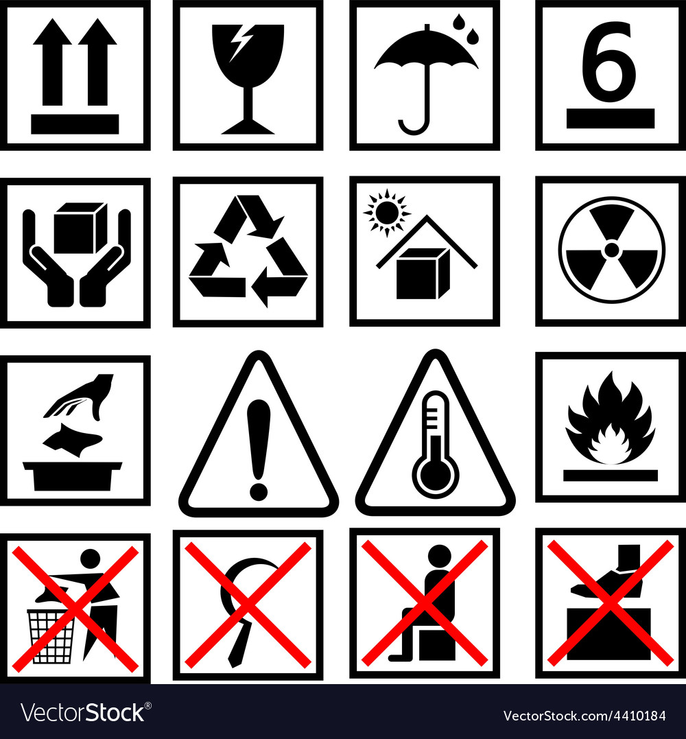 Warning of packaging symbol vector