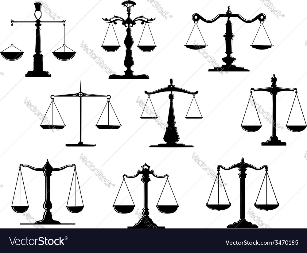 Black law scale icons vector