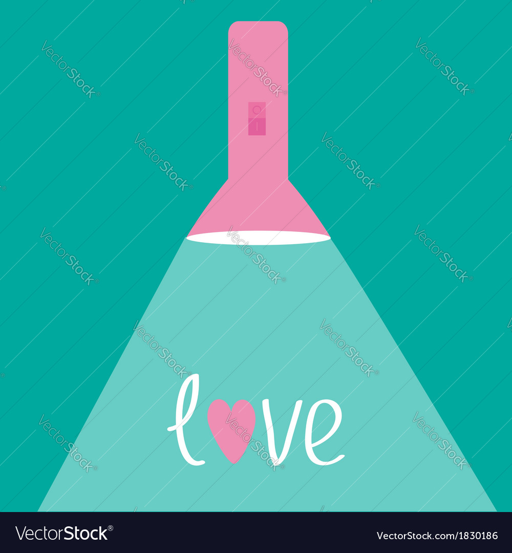 Pink flashlight with ray of light flat design love vector