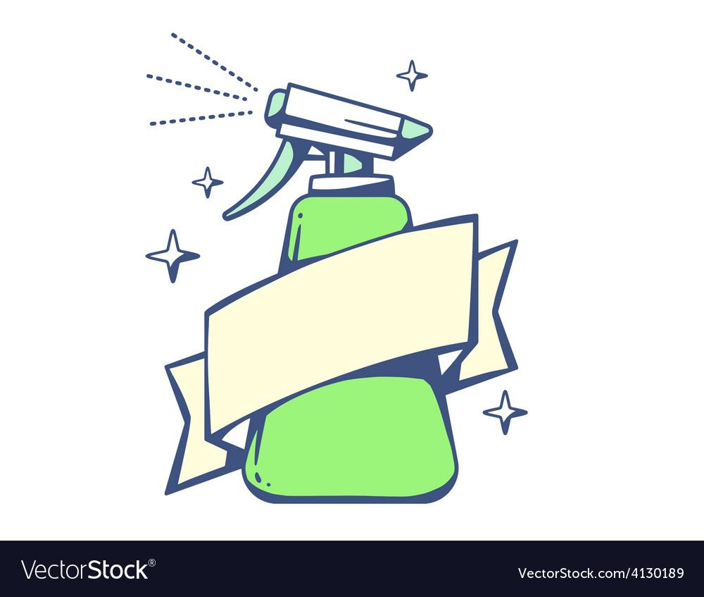 Green spray pistol with ribbon on light b vector