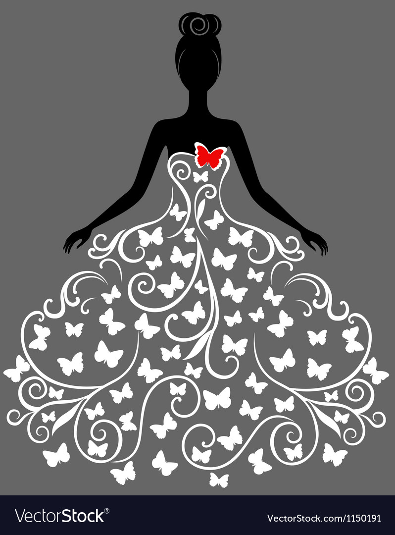 Silhouette of young woman in dress vector