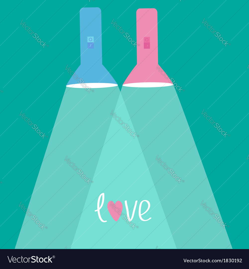 Pink flashlights with rays of light flat design vector