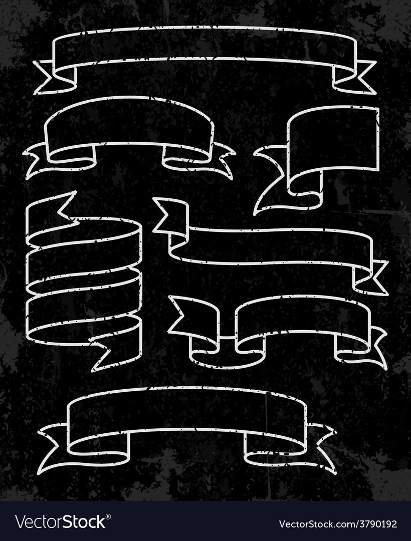 Set of banner ribbons vector