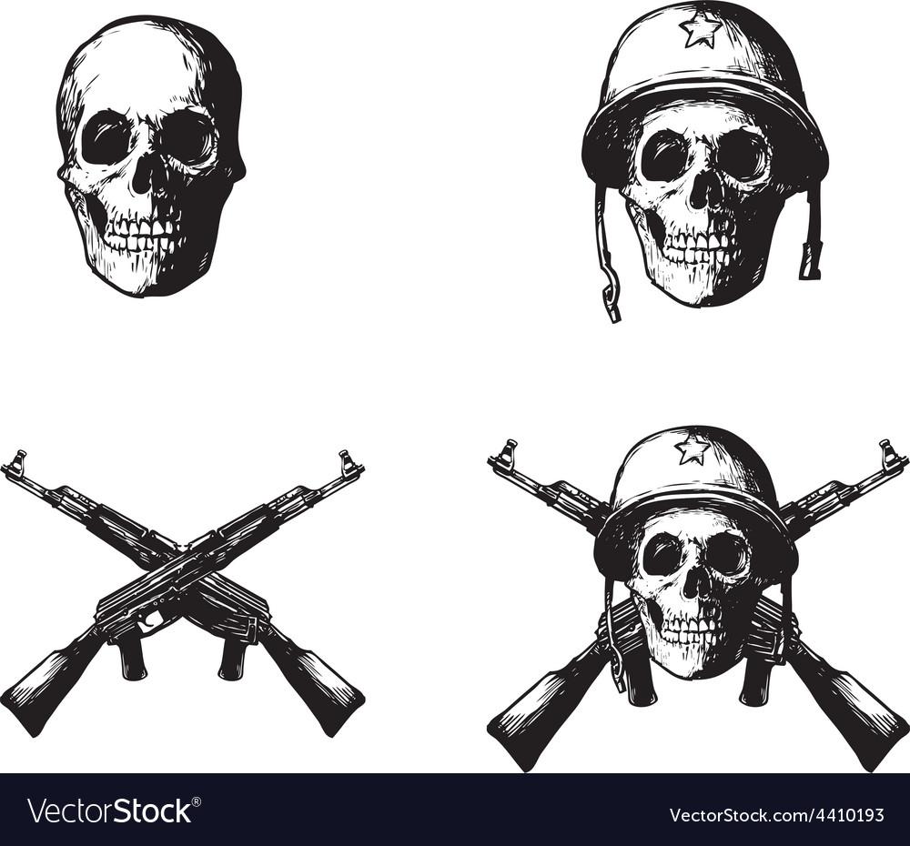 Skull army vector