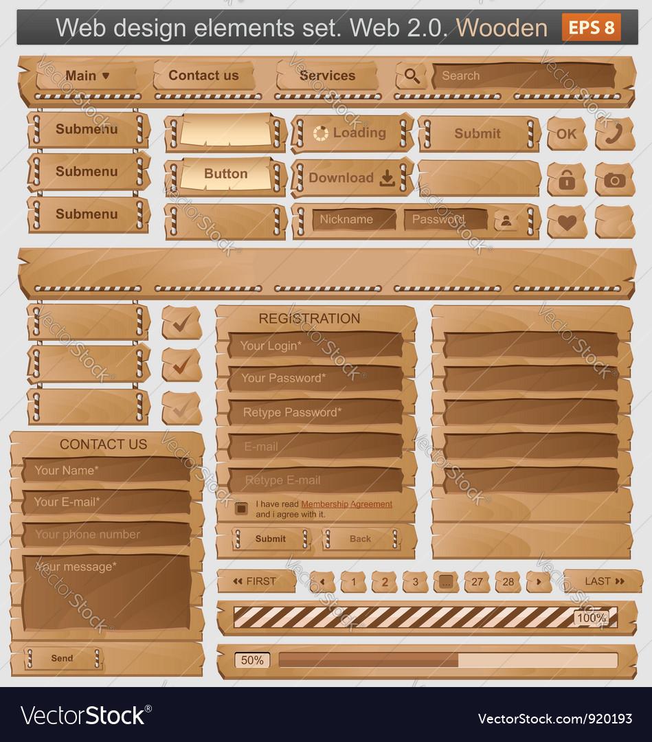 Web design elements set wooden vector