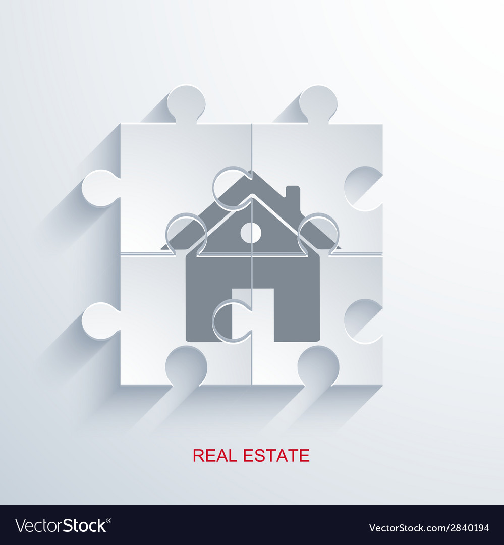 Concept real estate with puzzle vector